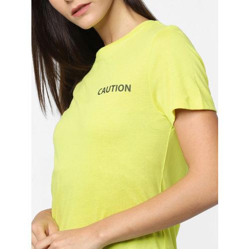 ONLY Women Fluorescent Green Printed Round Neck T-shirt