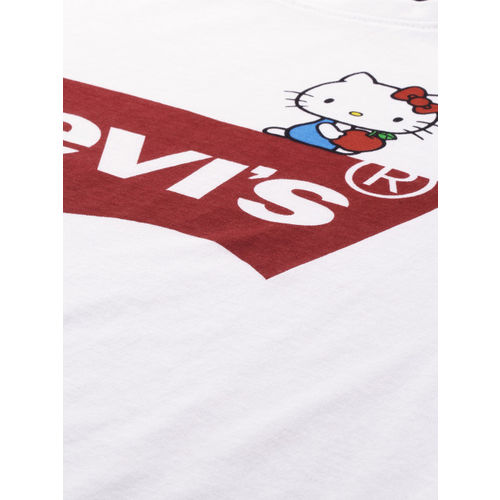 Levis Hello Kitty Women White Printed Round Neck T-shirt