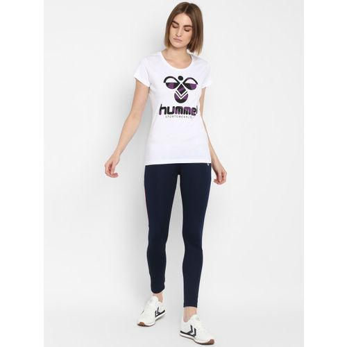 hummel Women White Printed Round Neck T-shirt