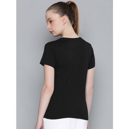 DILLINGER Women Black & White Printed Round Neck T-shirt