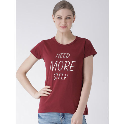 GRIFFEL Women Pack of Two White & Maroon Printed Round Neck T-shirt