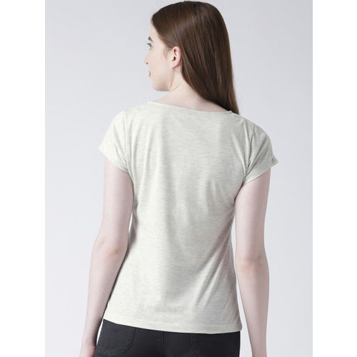 The Vanca Women Off-White Printed Round Neck T-shirt