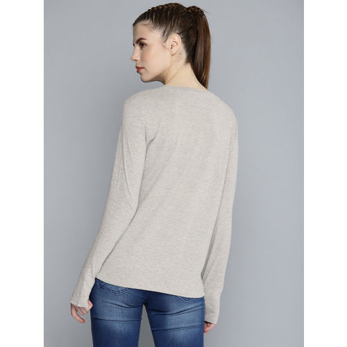 HRX by Hrithik Roshan Women Grey Melange Lifestyle Regular Fit Solid Round Neck T-shirt