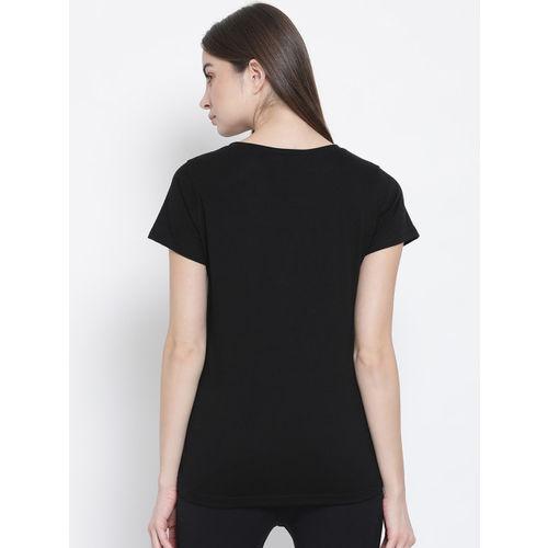 Clovia Women Black Printed V-Neck T-shirt