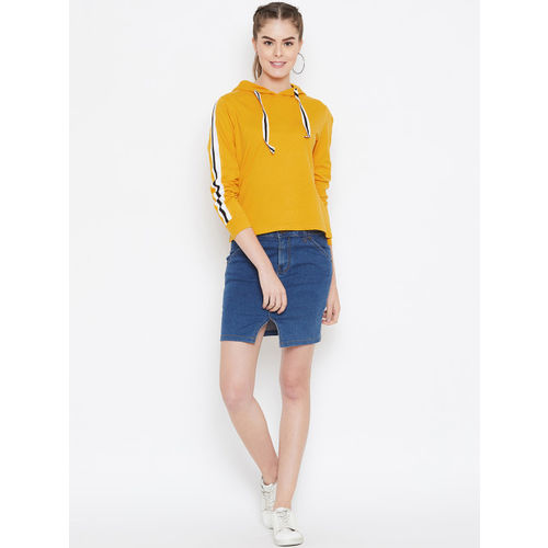 GRITSTONES Women Mustard Yellow Striped Hood T-shirt