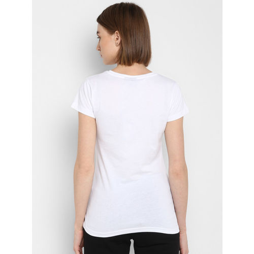 hummel Women White Printed Round Neck T-shirt