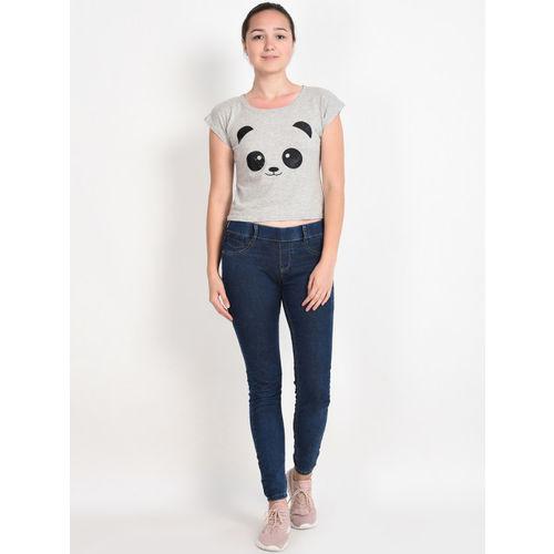 Everlush Women Grey & Black Printed Round Neck Crop T-shirt