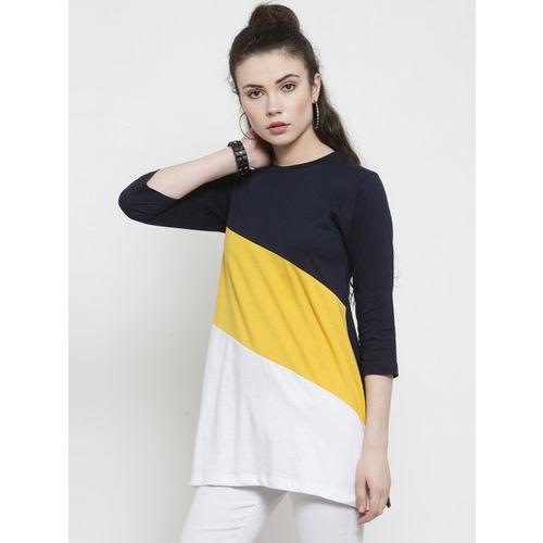 Kalt Women White & Yellow Colourblocked Round Neck Longline T-shirt
