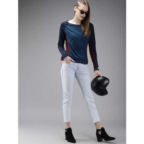 Roadster Women Teal Blue & Burgundy Colourblocked Round Neck T-shirt