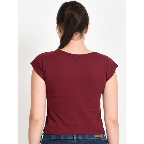 Everlush Women Maroon & White Printed Round Neck Crop T-shirt