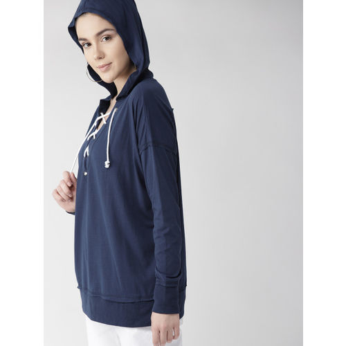 FOREVER 21 Women Navy Blue Solid Hooded T-shirt