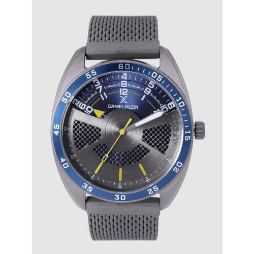 Daniel Klein Premium Men Gunmetal-Toned & Navy Blue Analogue Watch DK12221-4
