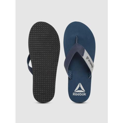 Reebok Men Grey & Navy Blue Core LP Colourblocked Thong Flip-Flops