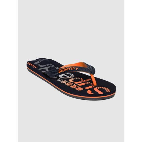 Superdry Men Navy Blue & Orange Printed Thong Flip-Flops