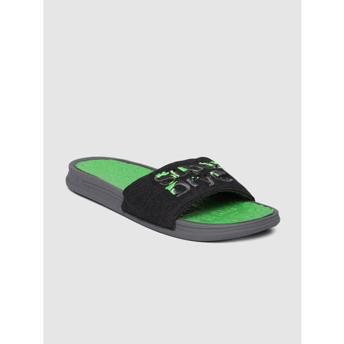 Superdry Men Black & Fluorescent Green Printed Sliders