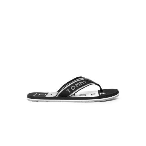 Tommy Hilfiger Men Black & Grey Striped Thong Flip-Flops