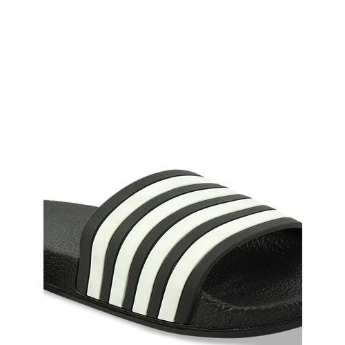 Histeria Men White & Black Striped Thong Flip-Flops