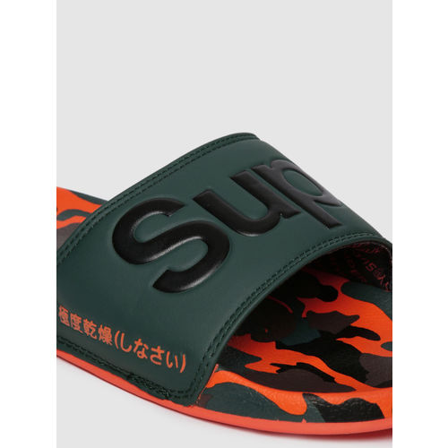 Superdry Unisex Green Printed Sliders