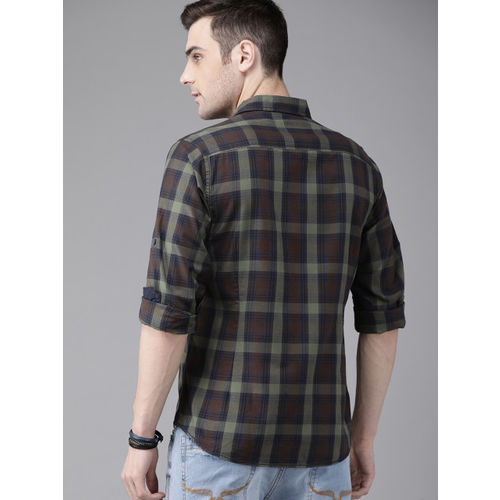 Roadster Men Olive Green & Brown Regular Fit Checked Casual Shirt
