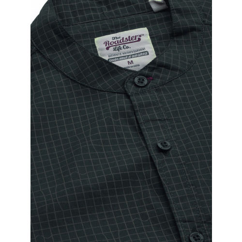 Roadster Men Navy Blue & Olive Green Regular Fit Printed Casual Shirt