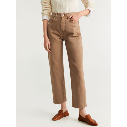 MANGO Women Beige Straight Fit Mid-Rise Clean Look Cropped Jeans