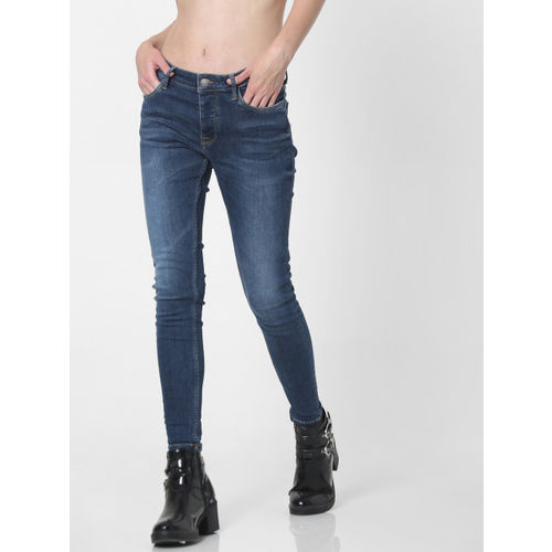 ONLY Women Blue Carmen Skinny Fit Mid-Rise Clean Look Jeans