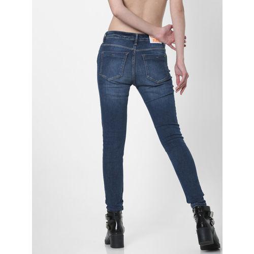 ONLY Women Blue Carmen Skinny Fit Mid-Rise Clean Look Jeans