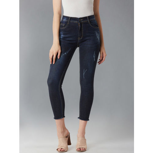 DOLCE CRUDO Women Blue Skinny Fit Mid-Rise Low Distress Stretchable Jeans