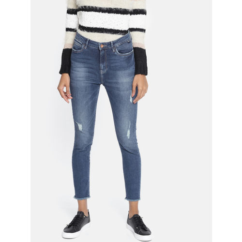 ONLY Women Blue Piper Skinny Fit High-Rise Mildly Distressed Stretchable Cropped Jeans