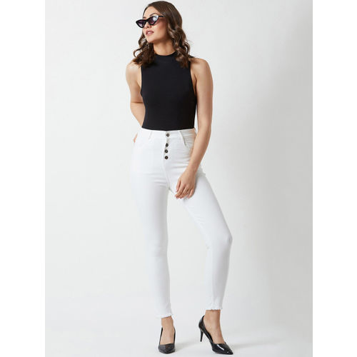 Miss Chase Women White Skinny Fit High-Rise Clean Look Jeans