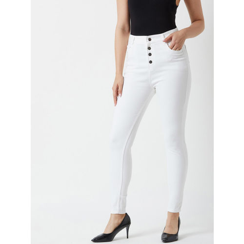 Miss Chase Women White Skinny Fit High-Rise Clean Look Stretchable Jeans