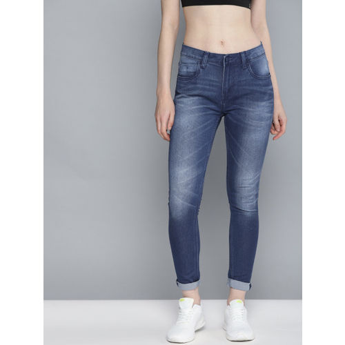HRX by Hrithik Roshan Women Blue Skinny Fit Mid-Rise Clean Look Stretchable Jeans
