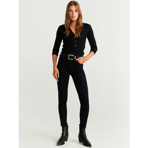 MANGO Women Black Skinny Fit High-Rise Clean Look Stretchable Cropped Jeans