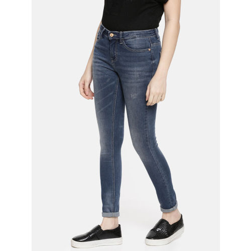 ONLY Women Blue Jacqueline de Yong Skinny Fit Mid-Rise Clean Look Stretchable Jeans