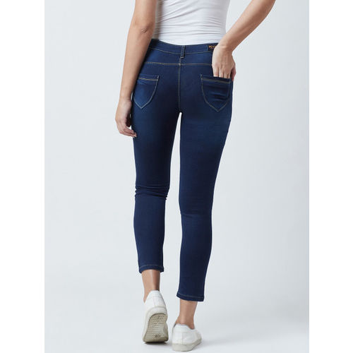 Devis Women Blue Skinny Fit Mid-Rise Clean Look Cropped Stretchable Jeans