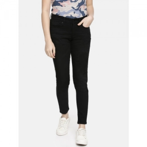 Pepe Jeans Women Black Alexia-L Lola Regular Fit Printed Mid-Rise Clean Look Cropped Jeans
