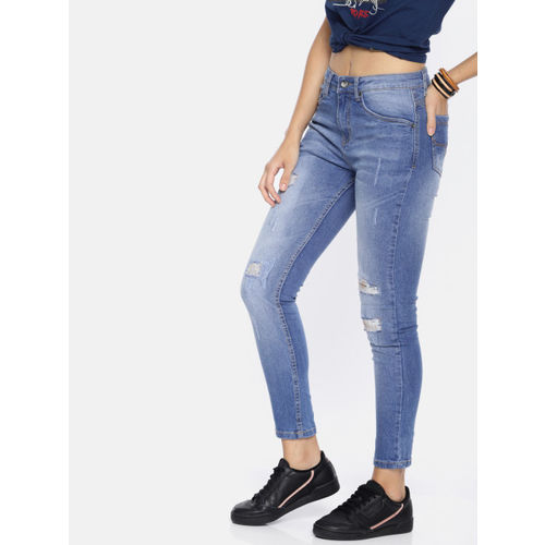 Roadster Women Blue Skinny Fit Mid-Rise Mildly Distressed Jeans