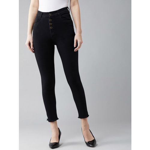 DOLCE CRUDO Women Black Skinny Fit High-Rise Clean Look Stretchable Cropped Jeans