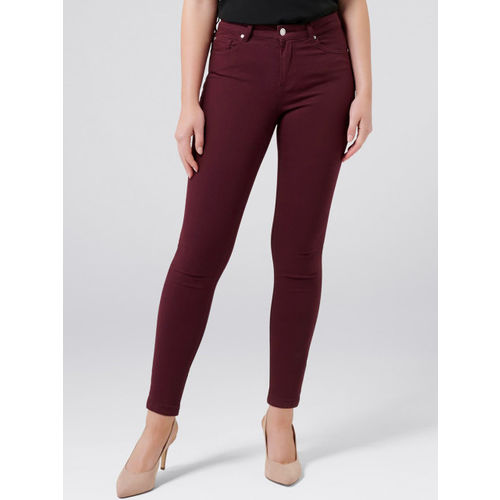 Forever New Women Maroon Skinny Fit Mid-Rise Clean Look Stretchable Jeans