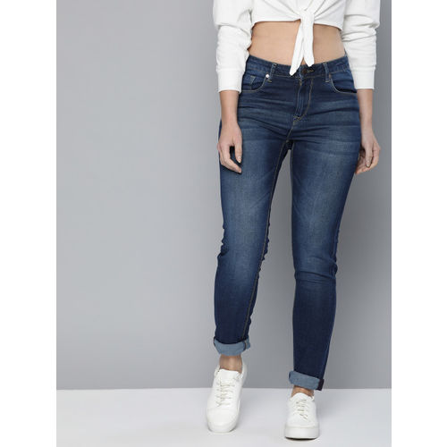 HERE&NOW Women Blue Skinny Fit Mid-Rise Clean Look Stretchable Jeans