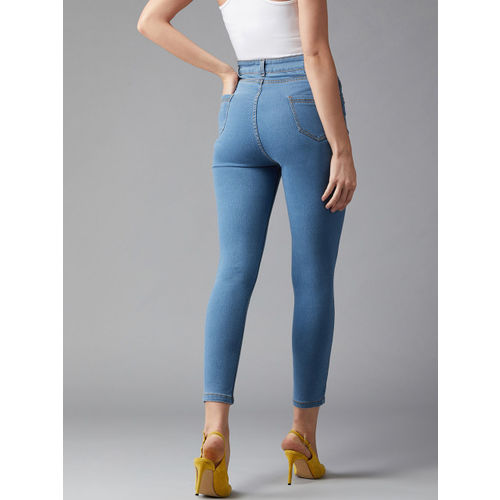 DOLCE CRUDO Women Blue Skinny Fit High-Rise Clean Look Stretchable Jeans