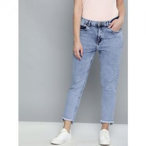 Mast & Harbour Women Blue Boyfriend Fit Mid-Rise Clean Look Stretchable Jeans