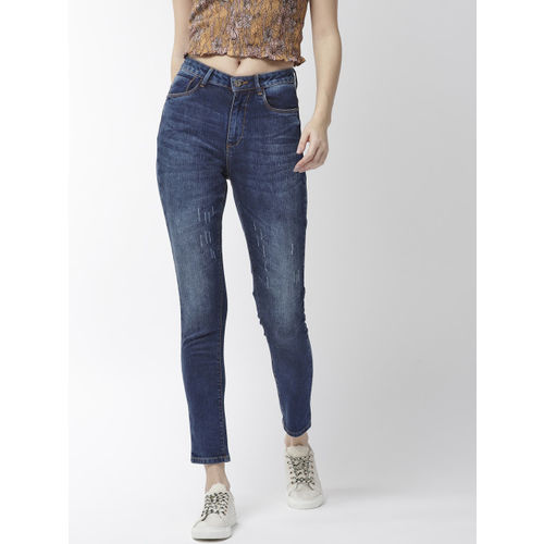Flying Machine Women Navy Blue Veronica Skinny Fit High-Rise Cropped Stretchable Jeans
