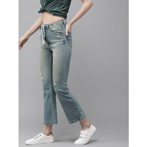 Roadster Women Blue Bootcut Fit Mid-Rise Mildly Distressed Stretchable Jeans