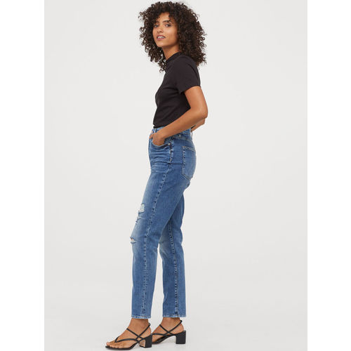 H&M Women Blue Mom High Ankle Jeans