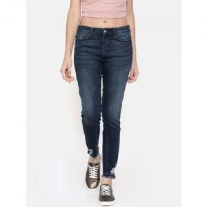 Vero Moda Women Blue Skinny Fit Mid-Rise Mildly Distressed Jeans