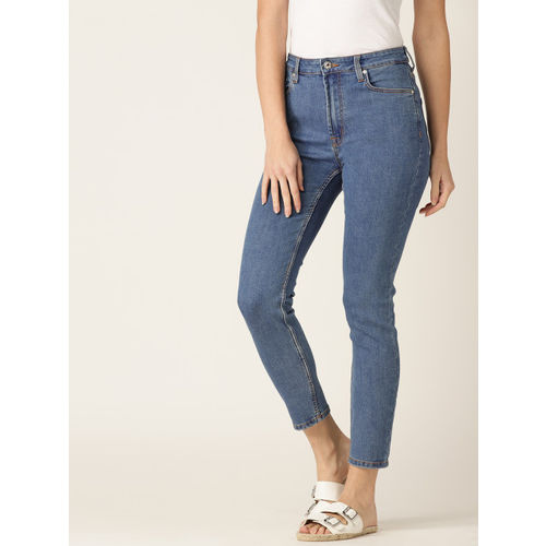 MANGO Women Blue Noa Skinny Fit Mid-Rise Clean Look Cropped Stretchable Jeans