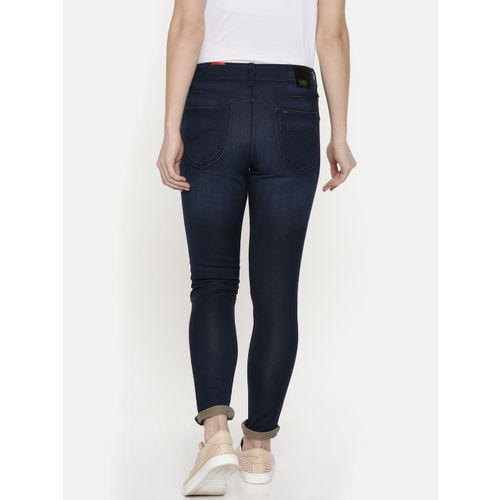Lee Women Navy Blue Holly-A Skinny Fit High-Rise Clean Look Stretchable Jeans