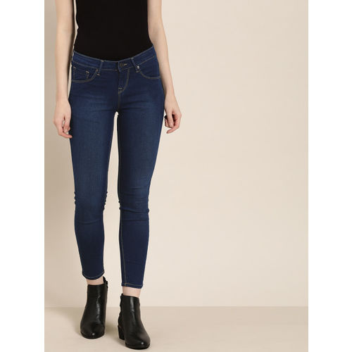 Moda Rapido Women Blue Ankle Skinny Fit Mid-Rise Clean Look Stretchable cropped Jeans