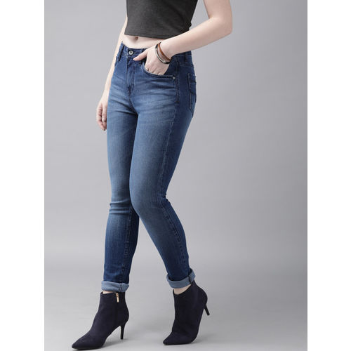 Roadster Women Blue Skinny Fit Mid-Rise Clean Look Raw Hem Stretchable Jeans